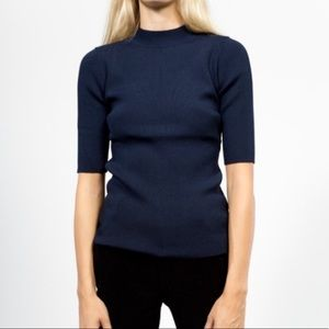 Objects without meaning blue mock neck top